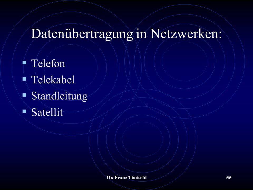 Dr. Franz Timischl55 Datenübertragung in Netzwerken: Telefon Telekabel Standleitung Satellit