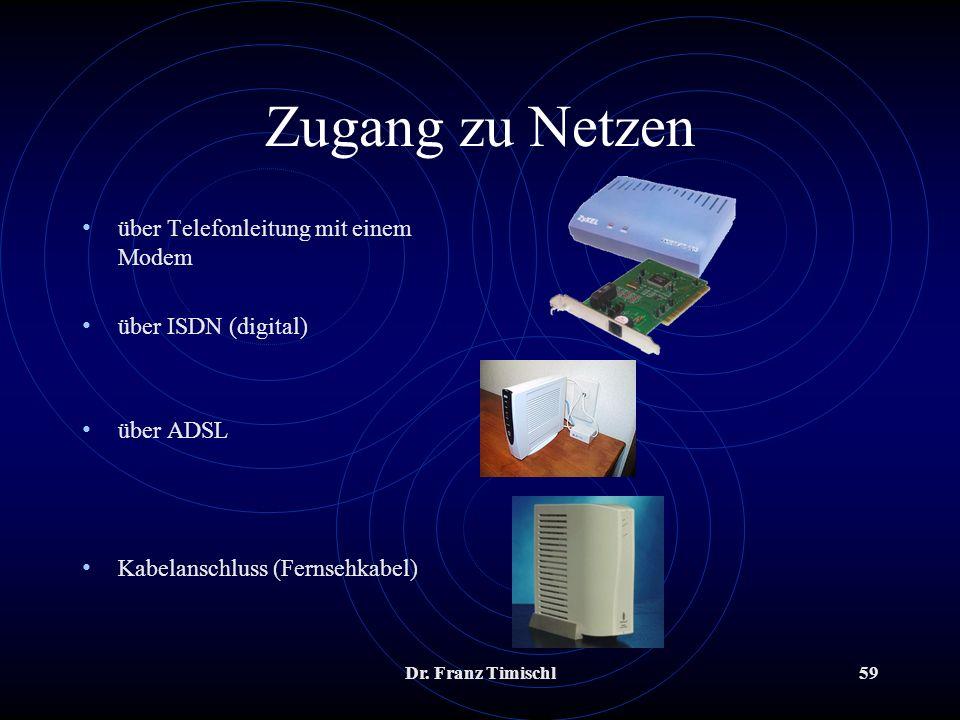 Dr. Franz Timischl59 Zugang zu Netzen über Telefonleitung mit einem Modem über ISDN (digital) über ADSL Kabelanschluss (Fernsehkabel)