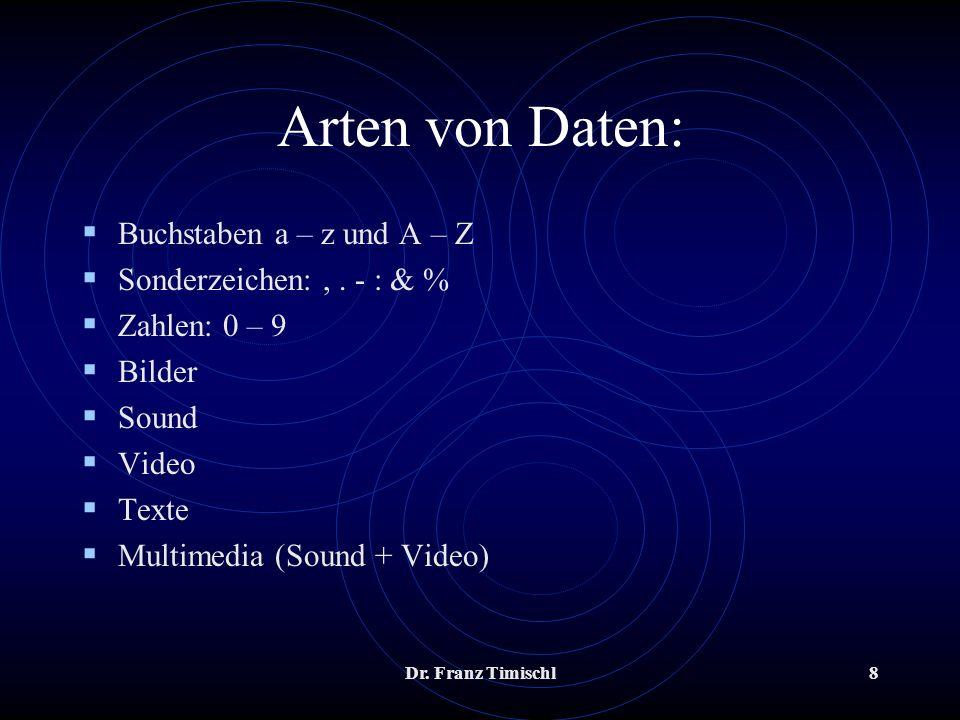 Dr. Franz Timischl8 Arten von Daten: Buchstaben a – z und A – Z Sonderzeichen:,. - : & % Zahlen: 0 – 9 Bilder Sound Video Texte Multimedia (Sound + Vi