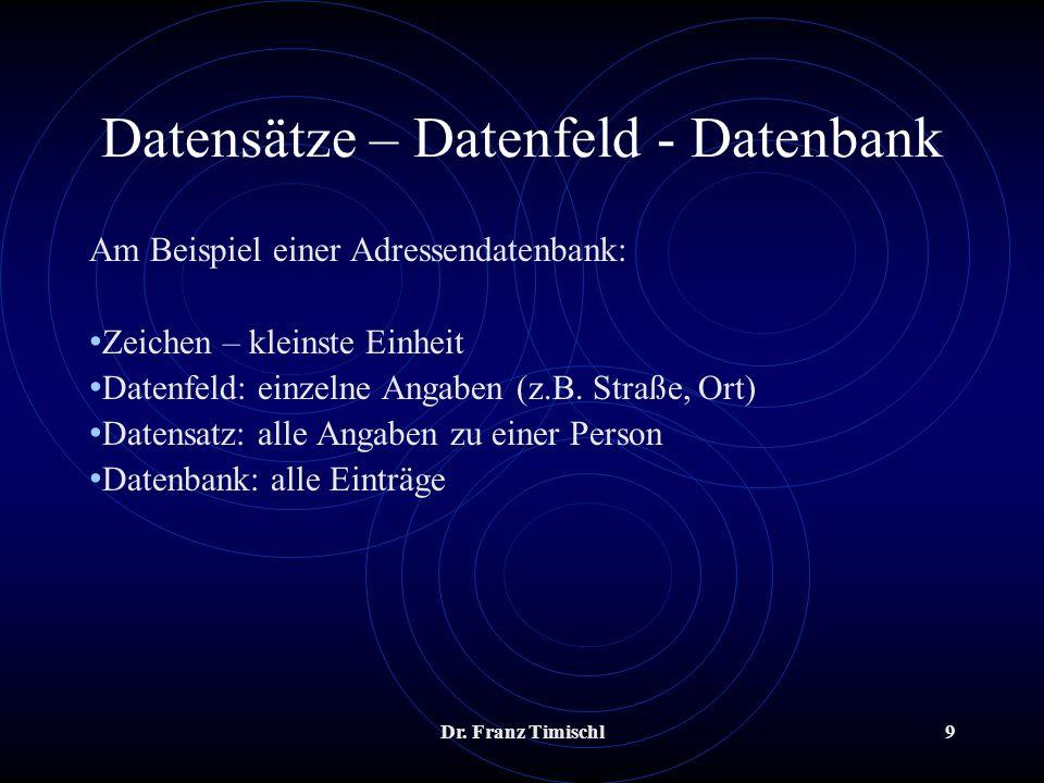 Dr. Franz Timischl9 Datensätze – Datenfeld - Datenbank Am Beispiel einer Adressendatenbank: Zeichen – kleinste Einheit Datenfeld: einzelne Angaben (z.