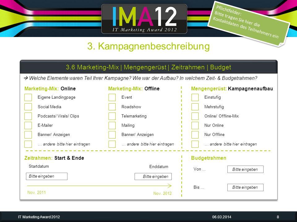 3. Kampagnenbeschreibung 06.03.2014IT Marketing Award 20128 3.6 Marketing-Mix | Mengengerüst | Zeitrahmen | Budget Eigene Landingpage Social Media Pod