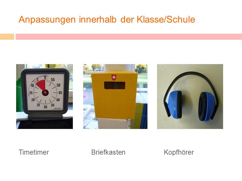 Anpassungen innerhalb der Klasse/Schule Timetimer BriefkastenKopfhörer