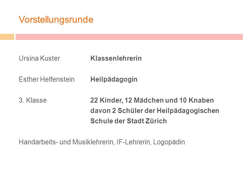 Vorstellungsrunde Ursina Kuster Klassenlehrerin Esther HelfensteinHeilpädagogin 3. Klasse22 Kinder, 12 Mädchen und 10 Knaben davon 2 Schüler der Heilp