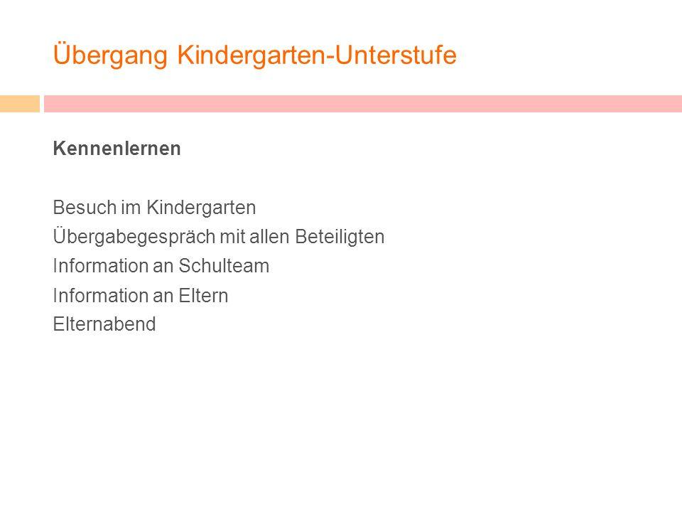 Übergang Kindergarten-Unterstufe Kennenlernen Besuch im Kindergarten Übergabegespräch mit allen Beteiligten Information an Schulteam Information an El