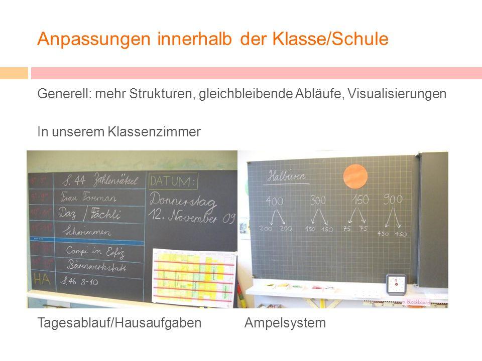 Anpassungen innerhalb der Klasse/Schule Generell: mehr Strukturen, gleichbleibende Abläufe, Visualisierungen In unserem Klassenzimmer Tagesablauf/Haus