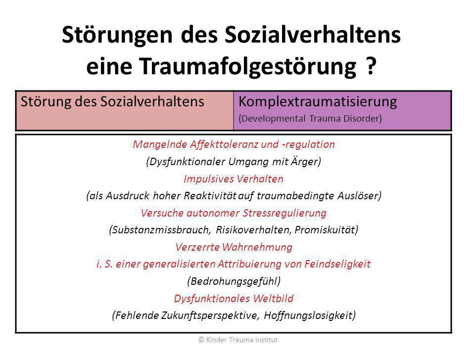 Störungen des Sozialverhaltens eine Traumafolgestörung ? © Kinder Trauma Institut Störung des SozialverhaltensKomplextraumatisierung (Developmental Tr