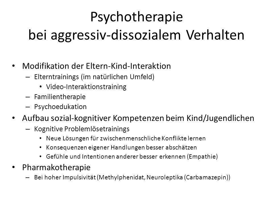 Psychotherapie bei aggressiv-dissozialem Verhalten Modifikation der Eltern-Kind-Interaktion – Elterntrainings (im natürlichen Umfeld) Video-Interaktio