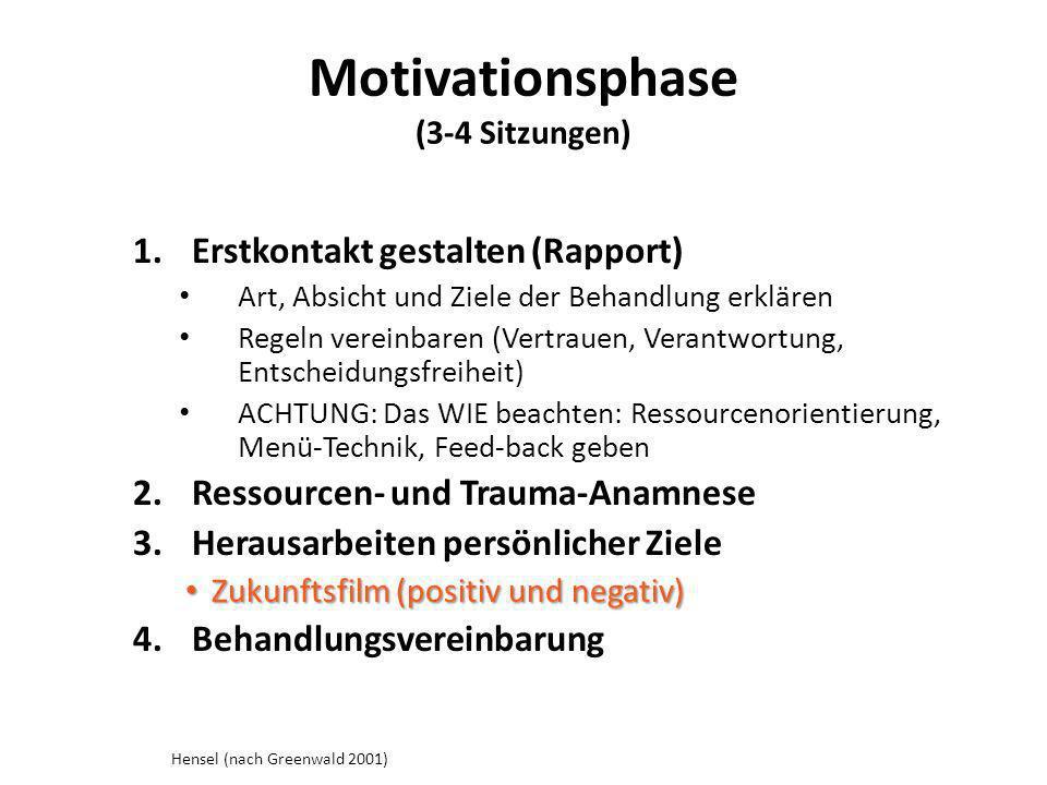 Motivationsphase (3-4 Sitzungen) 1.Erstkontakt gestalten (Rapport) Art, Absicht und Ziele der Behandlung erklären Regeln vereinbaren (Vertrauen, Veran