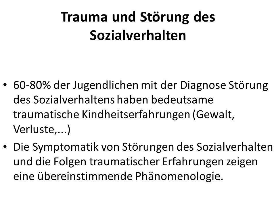 Trauma und Störung des Sozialverhalten 60-80% der Jugendlichen mit der Diagnose Störung des Sozialverhaltens haben bedeutsame traumatische Kindheitser