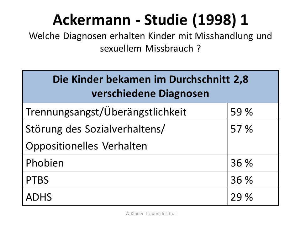 Ackermann - Studie (1998) 1 Welche Diagnosen erhalten Kinder mit Misshandlung und sexuellem Missbrauch ? Die Kinder bekamen im Durchschnitt 2,8 versch
