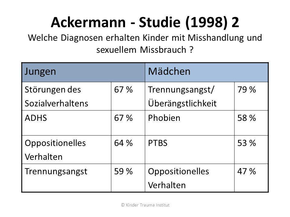 Ackermann - Studie (1998) 2 Welche Diagnosen erhalten Kinder mit Misshandlung und sexuellem Missbrauch ? JungenMädchen Störungen des Sozialverhaltens