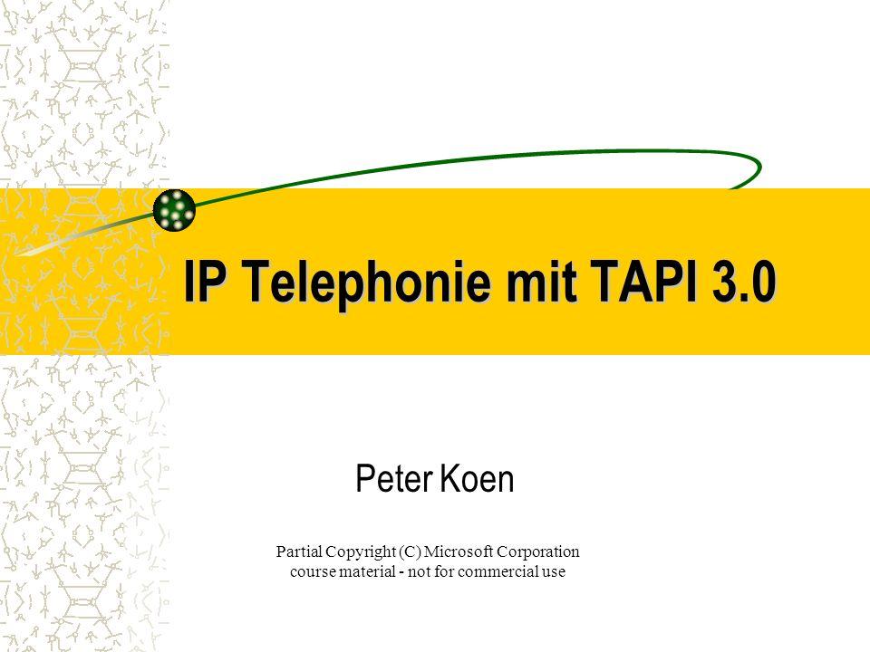 Copyright (C) 2000 KEMA –Koen Electronic Media Agency Themen: Grundlagen der IP Telephonie Einführung in TAPI 3.0 H.323 Kommunikationsstandard IP Multicast Konferenzen Quality of Service IP Telephonie Infrastruktur NetMeeting 2.0