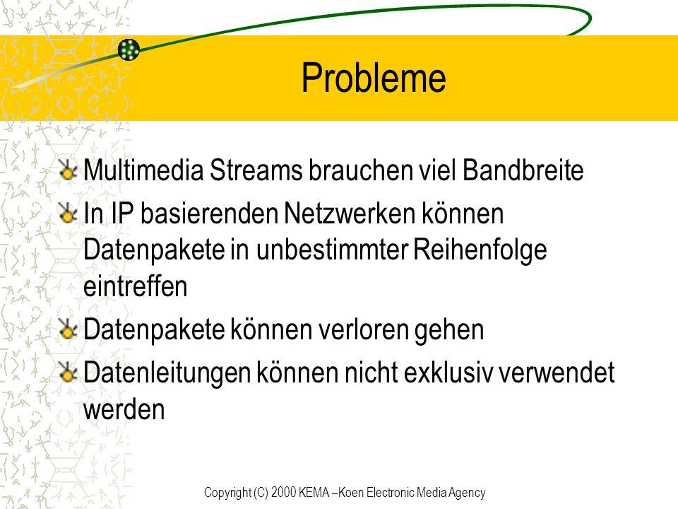 Copyright (C) 2000 KEMA –Koen Electronic Media Agency Probleme Multimedia Streams brauchen viel Bandbreite In IP basierenden Netzwerken können Datenpa