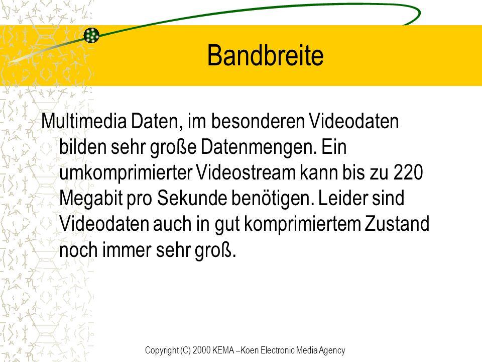 Copyright (C) 2000 KEMA –Koen Electronic Media Agency Bandbreite Multimedia Daten, im besonderen Videodaten bilden sehr große Datenmengen. Ein umkompr