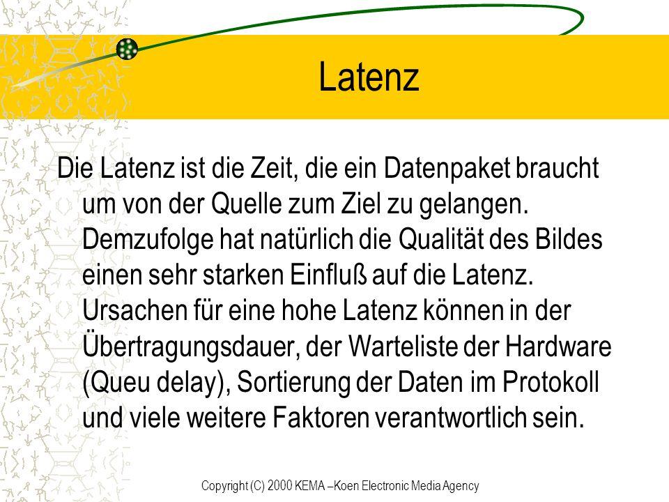Copyright (C) 2000 KEMA –Koen Electronic Media Agency Latenz Die Latenz ist die Zeit, die ein Datenpaket braucht um von der Quelle zum Ziel zu gelange