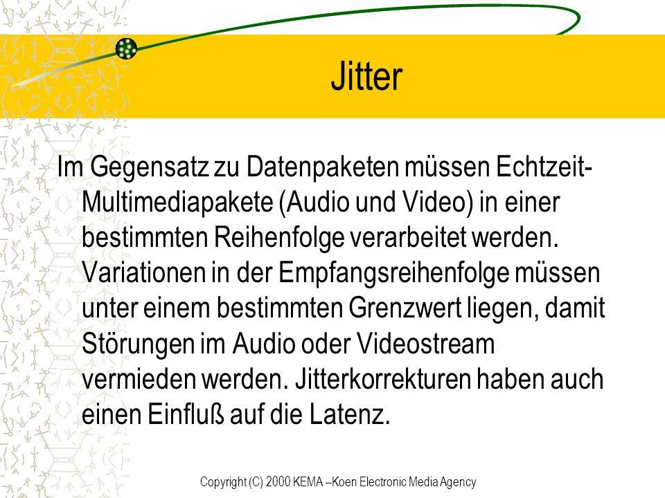 Copyright (C) 2000 KEMA –Koen Electronic Media Agency Jitter Im Gegensatz zu Datenpaketen müssen Echtzeit- Multimediapakete (Audio und Video) in einer