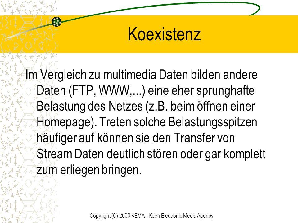 Copyright (C) 2000 KEMA –Koen Electronic Media Agency Koexistenz Im Vergleich zu multimedia Daten bilden andere Daten (FTP, WWW,...) eine eher sprungh