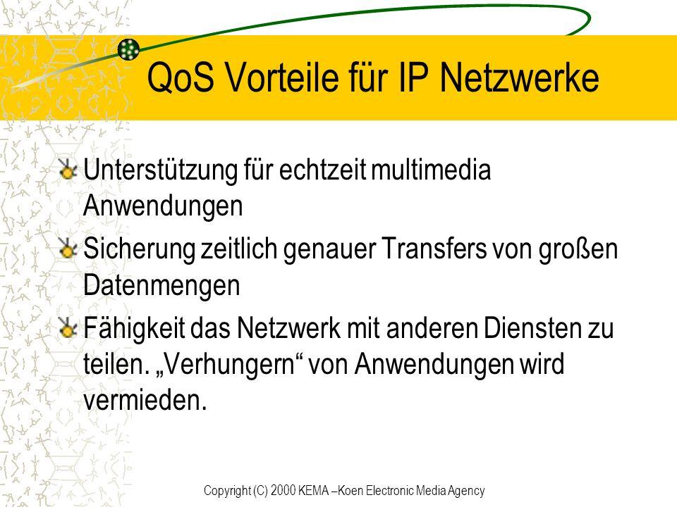 Copyright (C) 2000 KEMA –Koen Electronic Media Agency QoS Vorteile für IP Netzwerke Unterstützung für echtzeit multimedia Anwendungen Sicherung zeitli