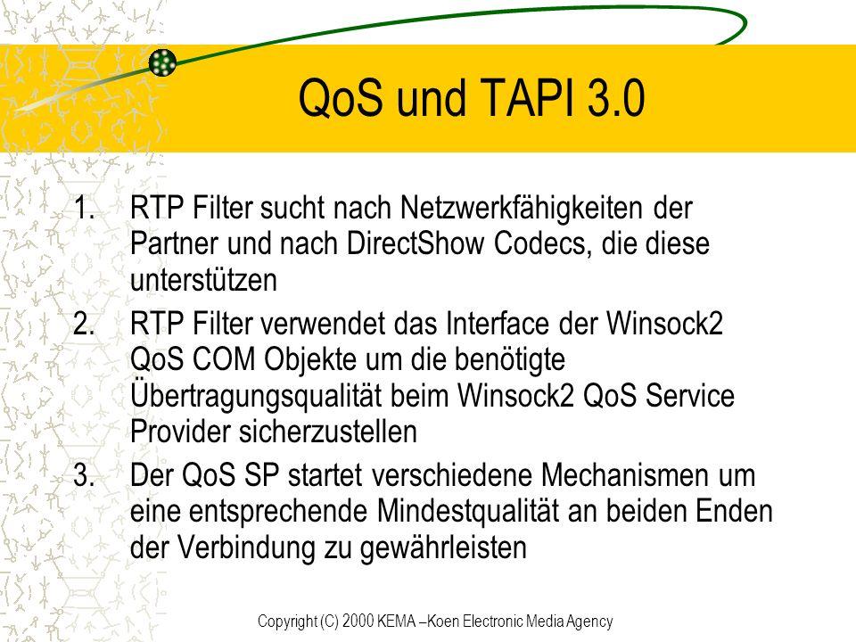 Copyright (C) 2000 KEMA –Koen Electronic Media Agency QoS und TAPI 3.0 1.RTP Filter sucht nach Netzwerkfähigkeiten der Partner und nach DirectShow Cod