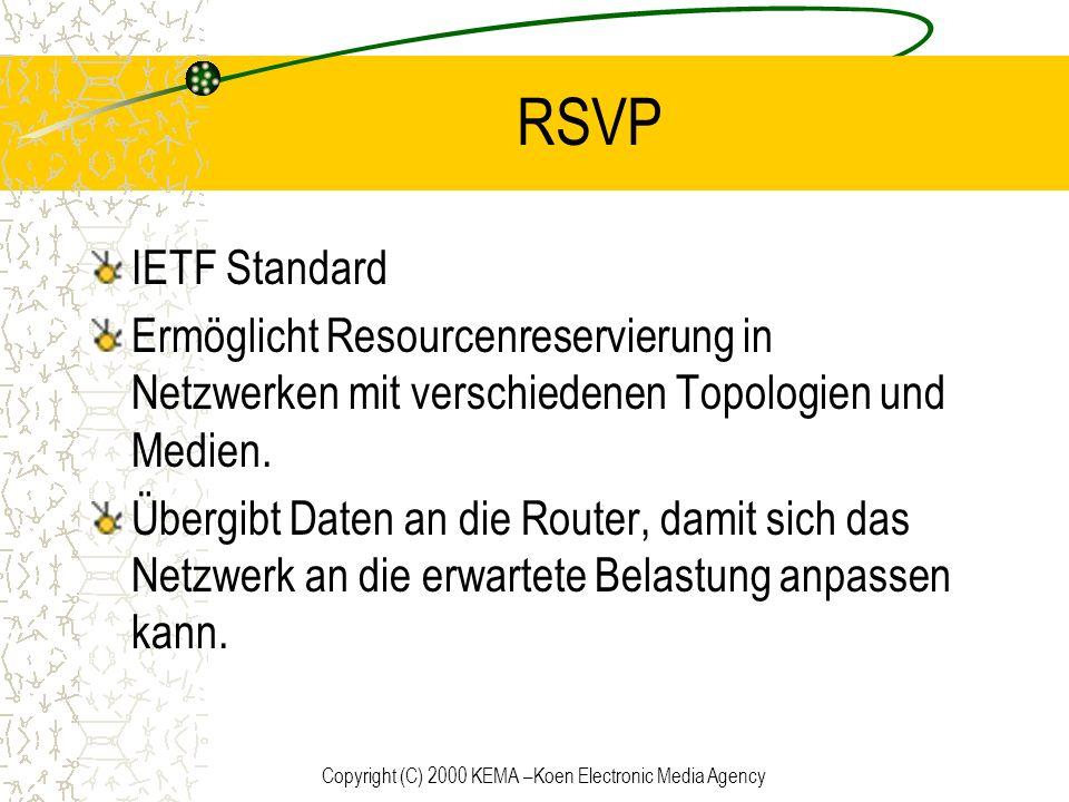Copyright (C) 2000 KEMA –Koen Electronic Media Agency RSVP IETF Standard Ermöglicht Resourcenreservierung in Netzwerken mit verschiedenen Topologien u