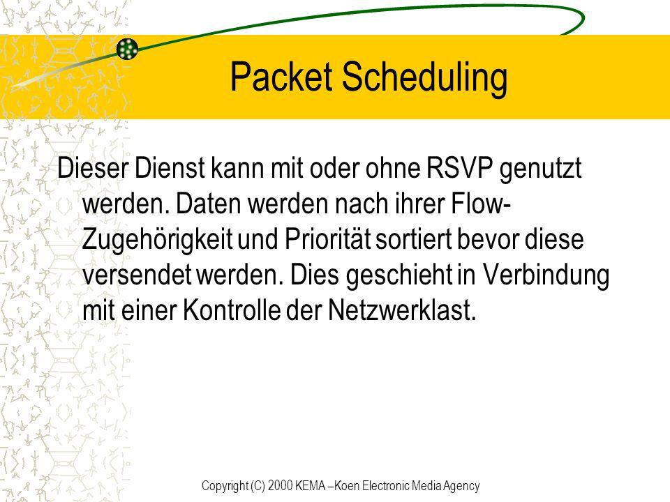 Copyright (C) 2000 KEMA –Koen Electronic Media Agency Packet Scheduling Dieser Dienst kann mit oder ohne RSVP genutzt werden. Daten werden nach ihrer