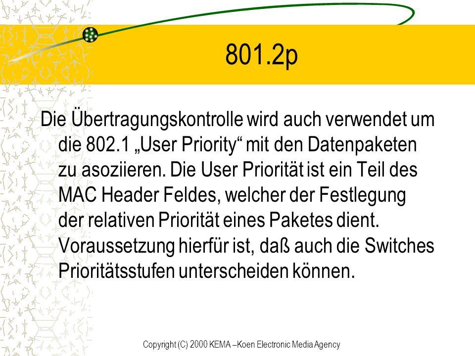 Copyright (C) 2000 KEMA –Koen Electronic Media Agency 801.2p Die Übertragungskontrolle wird auch verwendet um die 802.1 User Priority mit den Datenpak