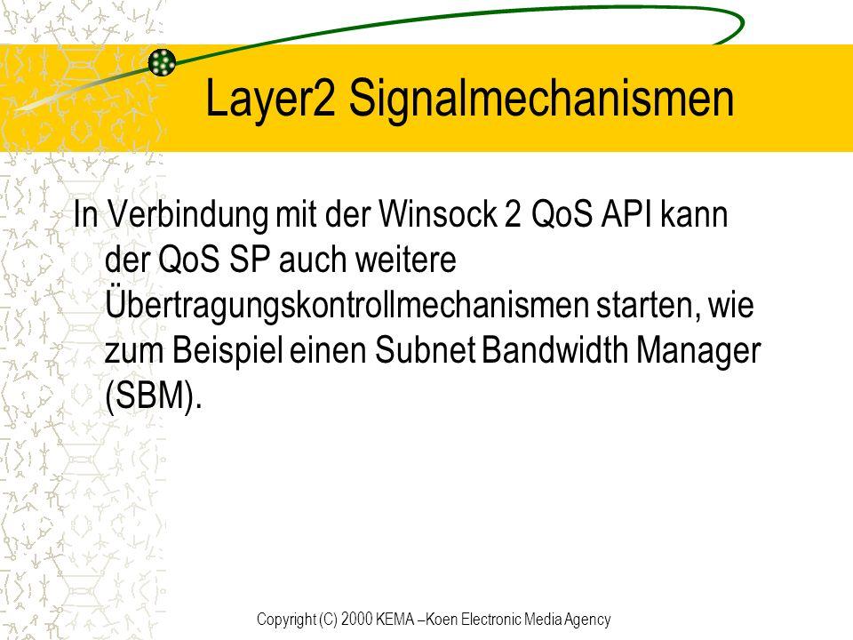 Copyright (C) 2000 KEMA –Koen Electronic Media Agency Layer2 Signalmechanismen In Verbindung mit der Winsock 2 QoS API kann der QoS SP auch weitere Üb