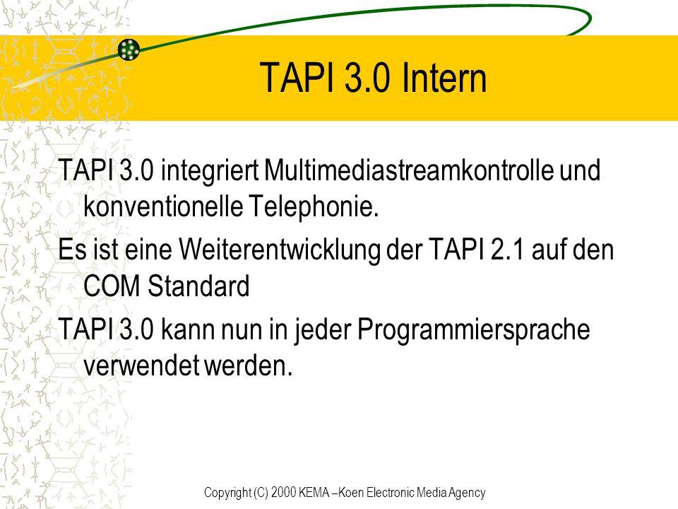 Copyright (C) 2000 KEMA –Koen Electronic Media Agency TAPI 3.0 Intern TAPI 3.0 integriert Multimediastreamkontrolle und konventionelle Telephonie. Es