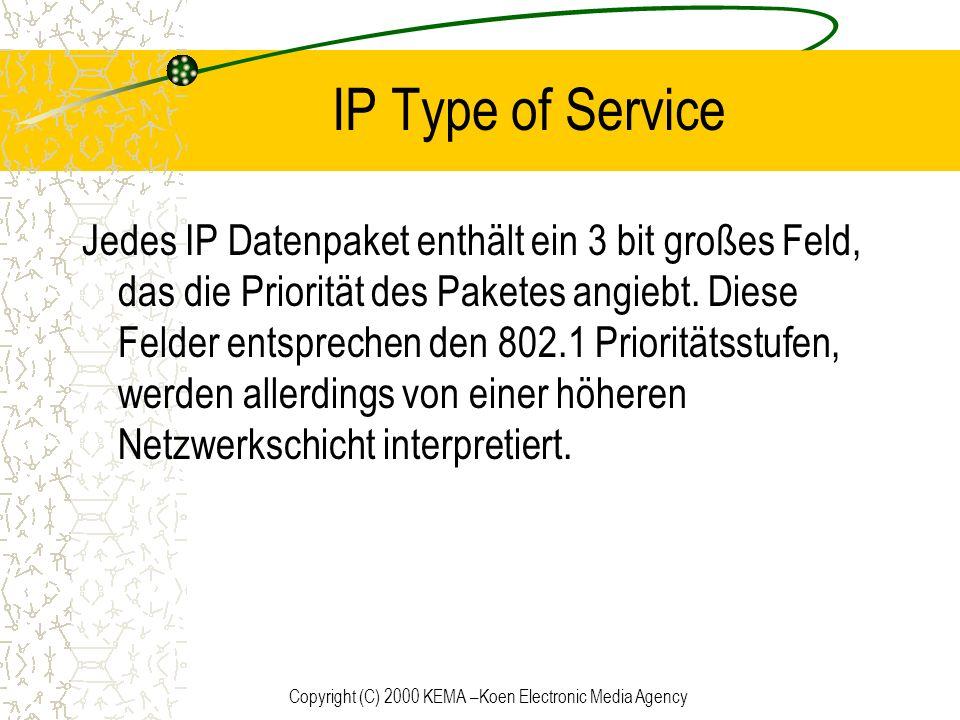 Copyright (C) 2000 KEMA –Koen Electronic Media Agency IP Type of Service Jedes IP Datenpaket enthält ein 3 bit großes Feld, das die Priorität des Pake