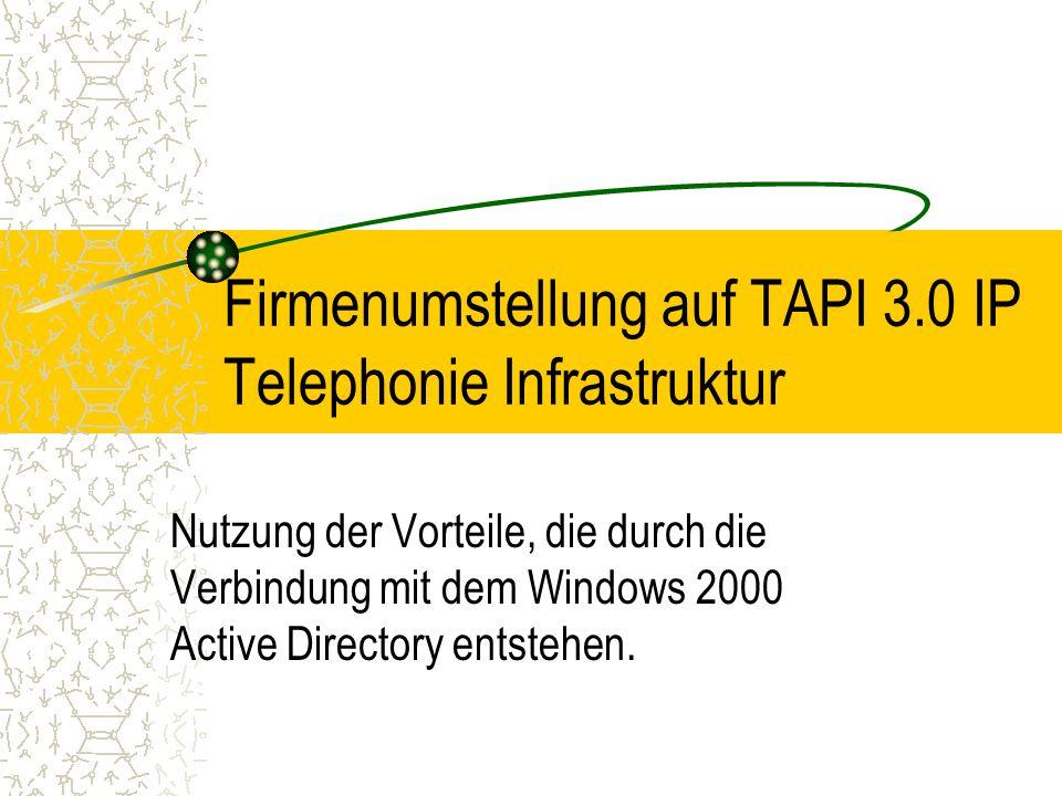 Firmenumstellung auf TAPI 3.0 IP Telephonie Infrastruktur Nutzung der Vorteile, die durch die Verbindung mit dem Windows 2000 Active Directory entsteh