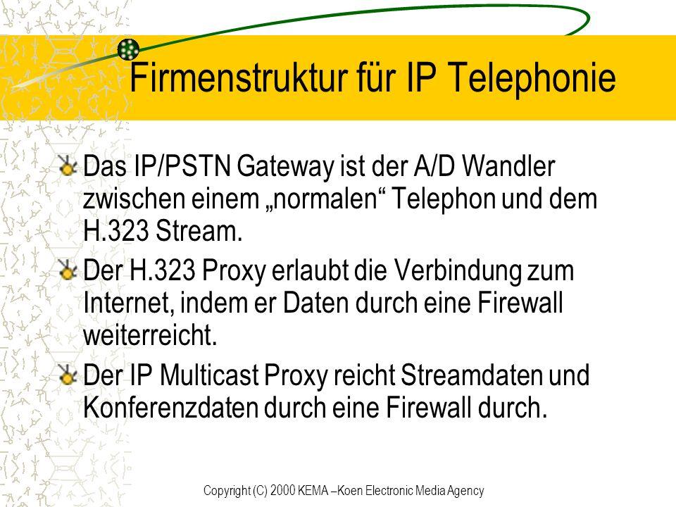 Copyright (C) 2000 KEMA –Koen Electronic Media Agency Firmenstruktur für IP Telephonie Das IP/PSTN Gateway ist der A/D Wandler zwischen einem normalen