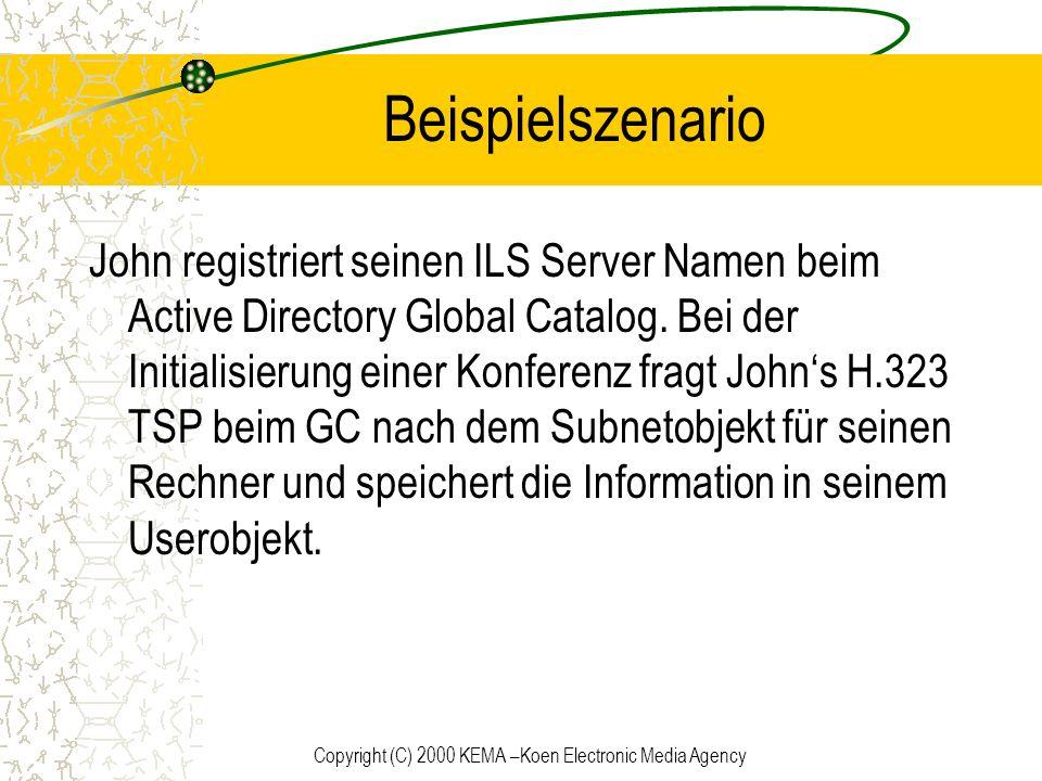 Copyright (C) 2000 KEMA –Koen Electronic Media Agency Beispielszenario John registriert seinen ILS Server Namen beim Active Directory Global Catalog.