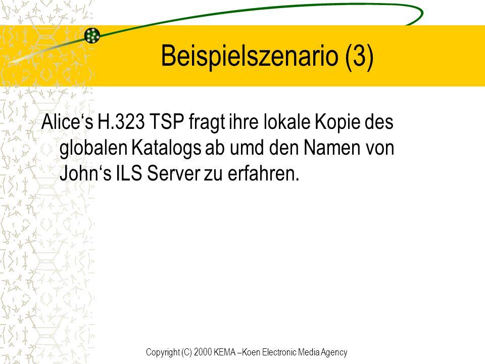 Copyright (C) 2000 KEMA –Koen Electronic Media Agency Beispielszenario (3) Alices H.323 TSP fragt ihre lokale Kopie des globalen Katalogs ab umd den N