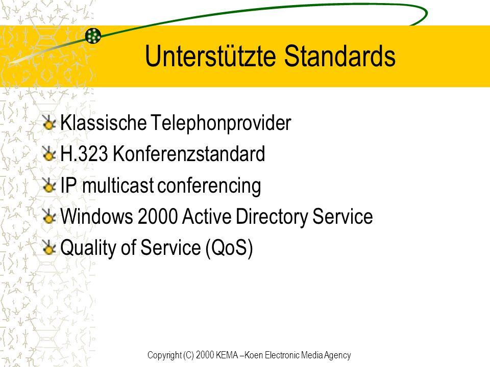 Copyright (C) 2000 KEMA –Koen Electronic Media Agency Unterstützte Standards Klassische Telephonprovider H.323 Konferenzstandard IP multicast conferen
