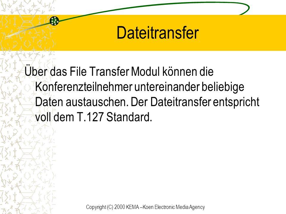 Copyright (C) 2000 KEMA –Koen Electronic Media Agency Dateitransfer Über das File Transfer Modul können die Konferenzteilnehmer untereinander beliebig