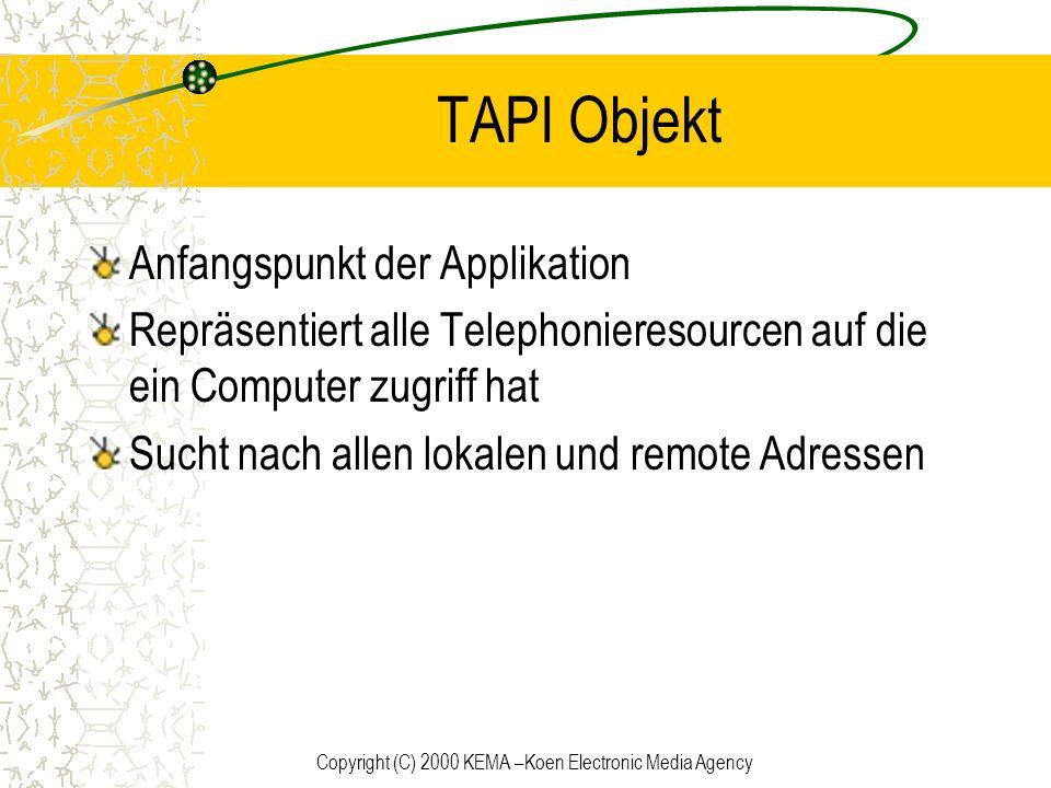 Copyright (C) 2000 KEMA –Koen Electronic Media Agency TAPI Objekt Anfangspunkt der Applikation Repräsentiert alle Telephonieresourcen auf die ein Comp