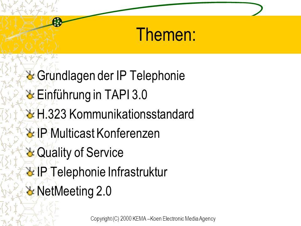 Copyright (C) 2000 KEMA –Koen Electronic Media Agency Unterstützte Standards Klassische Telephonprovider H.323 Konferenzstandard IP multicast conferencing Windows 2000 Active Directory Service Quality of Service (QoS)