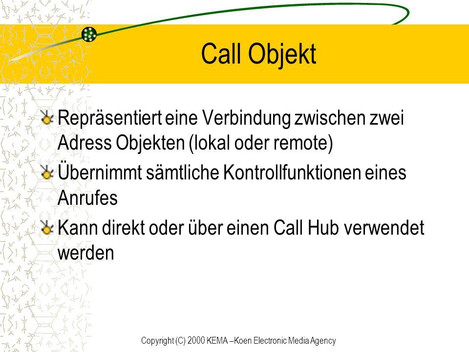 Copyright (C) 2000 KEMA –Koen Electronic Media Agency Call Objekt Repräsentiert eine Verbindung zwischen zwei Adress Objekten (lokal oder remote) Über