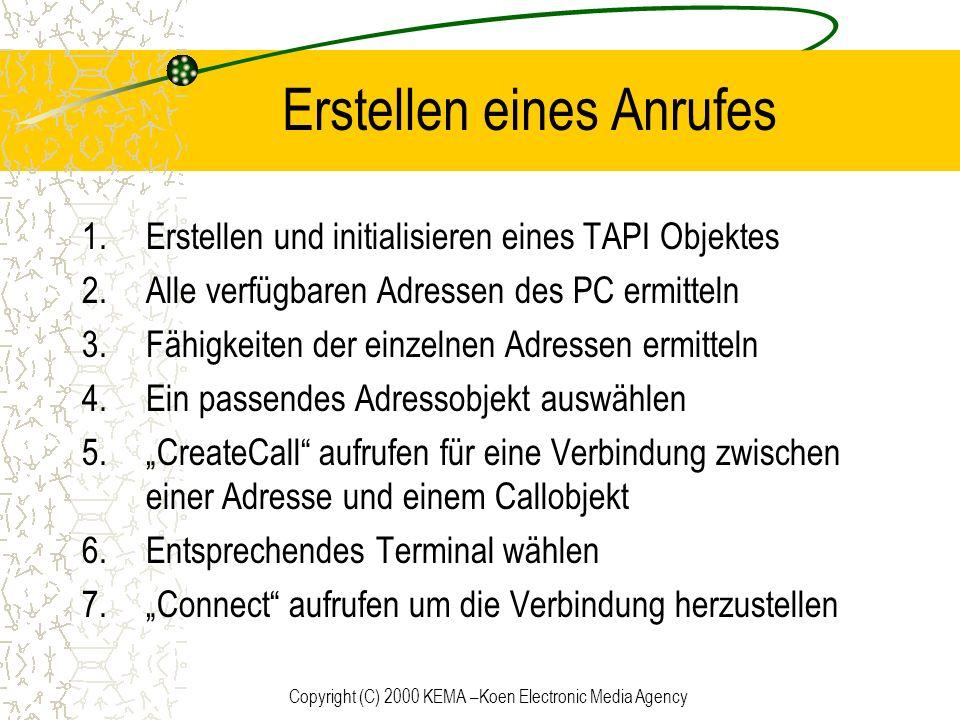 Copyright (C) 2000 KEMA –Koen Electronic Media Agency Erstellen eines Anrufes 1.Erstellen und initialisieren eines TAPI Objektes 2.Alle verfügbaren Ad
