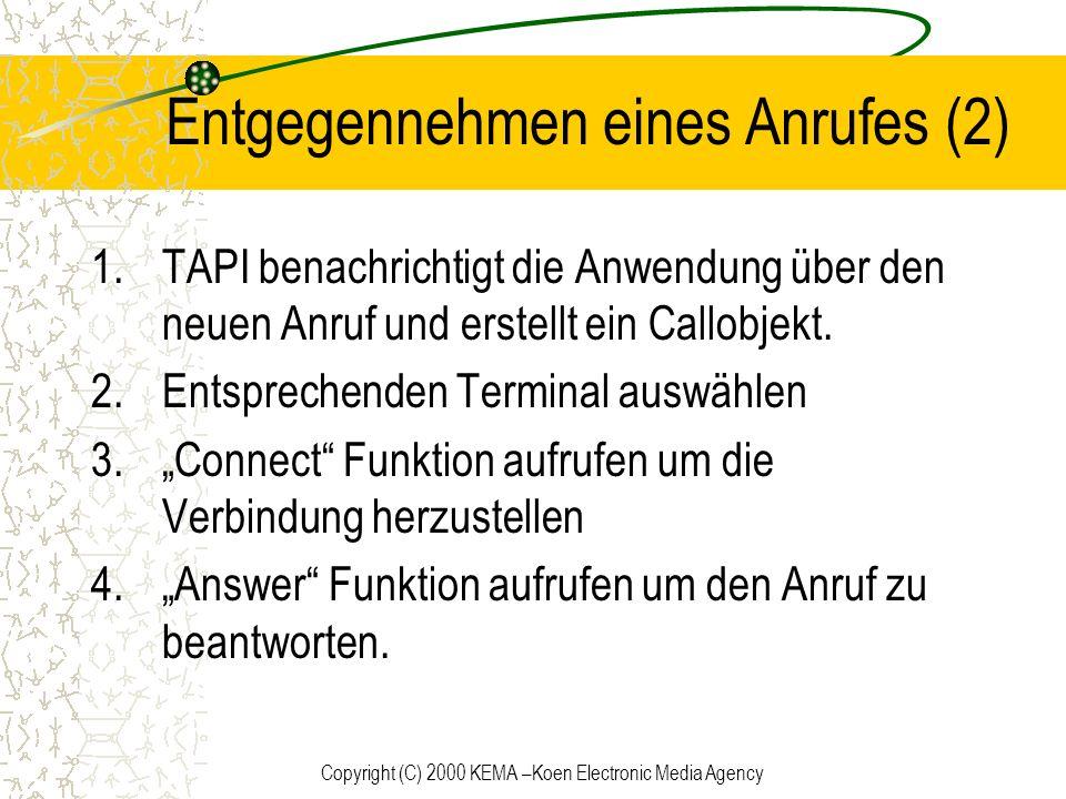 Copyright (C) 2000 KEMA –Koen Electronic Media Agency Entgegennehmen eines Anrufes (2) 1.TAPI benachrichtigt die Anwendung über den neuen Anruf und er