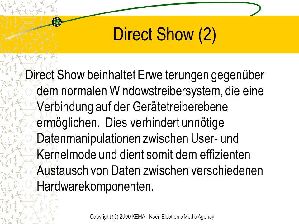 Copyright (C) 2000 KEMA –Koen Electronic Media Agency Direct Show (2) Direct Show beinhaltet Erweiterungen gegenüber dem normalen Windowstreibersystem