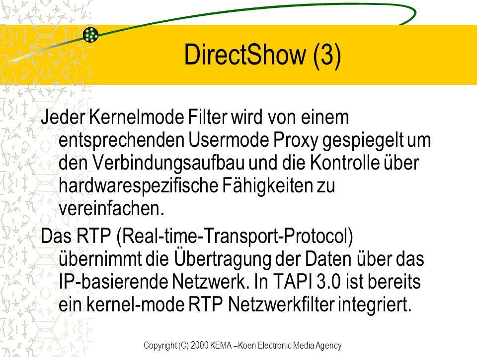 Copyright (C) 2000 KEMA –Koen Electronic Media Agency DirectShow (3) Jeder Kernelmode Filter wird von einem entsprechenden Usermode Proxy gespiegelt u