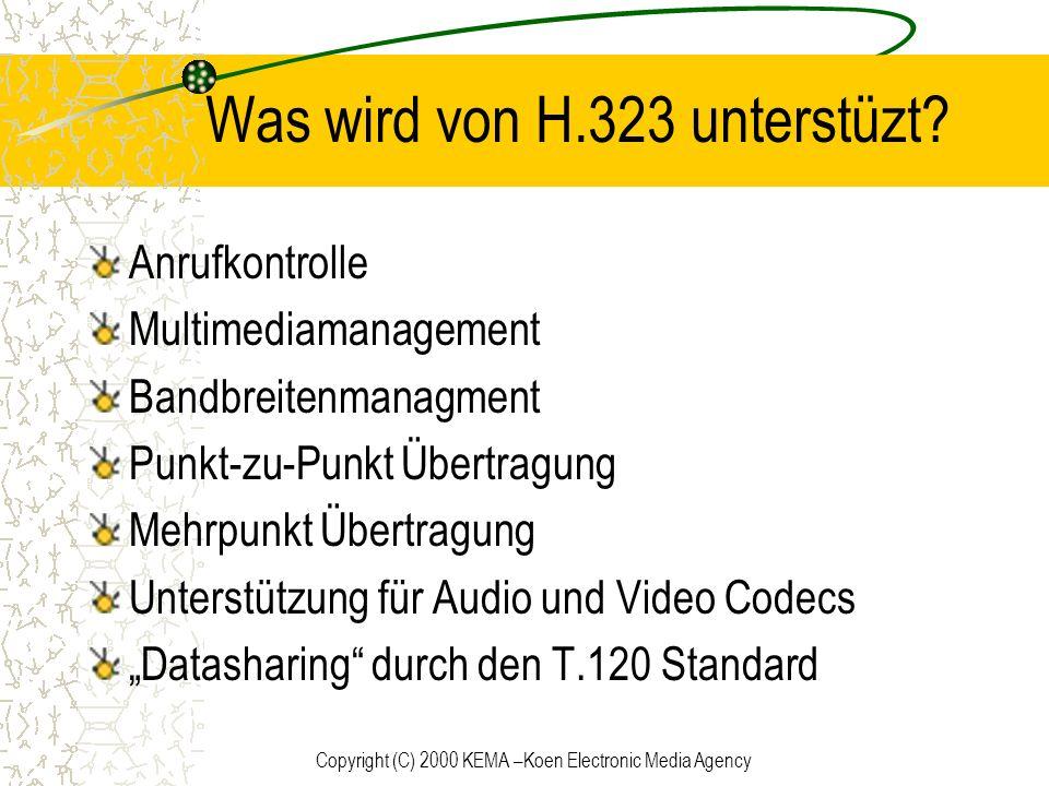 Copyright (C) 2000 KEMA –Koen Electronic Media Agency Was wird von H.323 unterstüzt? Anrufkontrolle Multimediamanagement Bandbreitenmanagment Punkt-zu