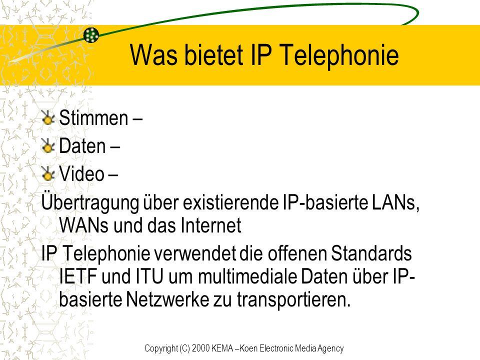 Copyright (C) 2000 KEMA –Koen Electronic Media Agency Erstellen eines Anrufes 1.Erstellen und initialisieren eines TAPI Objektes 2.Alle verfügbaren Adressen des PC ermitteln 3.Fähigkeiten der einzelnen Adressen ermitteln 4.Ein passendes Adressobjekt auswählen 5.CreateCall aufrufen für eine Verbindung zwischen einer Adresse und einem Callobjekt 6.Entsprechendes Terminal wählen 7.Connect aufrufen um die Verbindung herzustellen