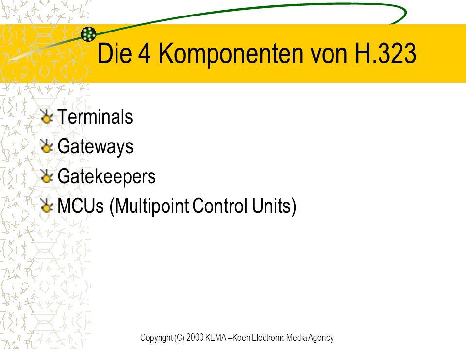 Copyright (C) 2000 KEMA –Koen Electronic Media Agency Die 4 Komponenten von H.323 Terminals Gateways Gatekeepers MCUs (Multipoint Control Units)
