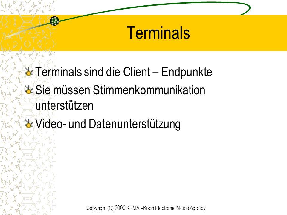 Copyright (C) 2000 KEMA –Koen Electronic Media Agency Terminals Terminals sind die Client – Endpunkte Sie müssen Stimmenkommunikation unterstützen Vid