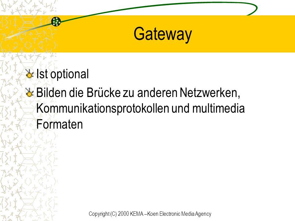 Copyright (C) 2000 KEMA –Koen Electronic Media Agency Gateway Ist optional Bilden die Brücke zu anderen Netzwerken, Kommunikationsprotokollen und mult