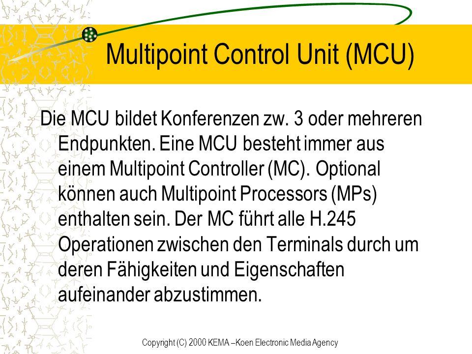 Copyright (C) 2000 KEMA –Koen Electronic Media Agency Multipoint Control Unit (MCU) Die MCU bildet Konferenzen zw. 3 oder mehreren Endpunkten. Eine MC