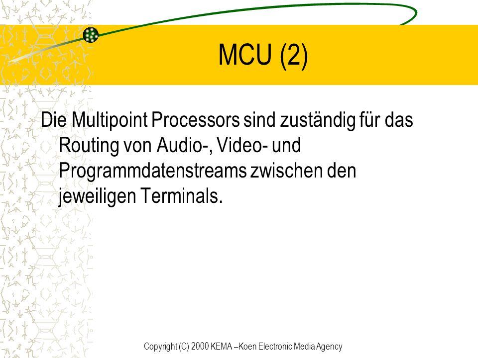 Copyright (C) 2000 KEMA –Koen Electronic Media Agency MCU (2) Die Multipoint Processors sind zuständig für das Routing von Audio-, Video- und Programm