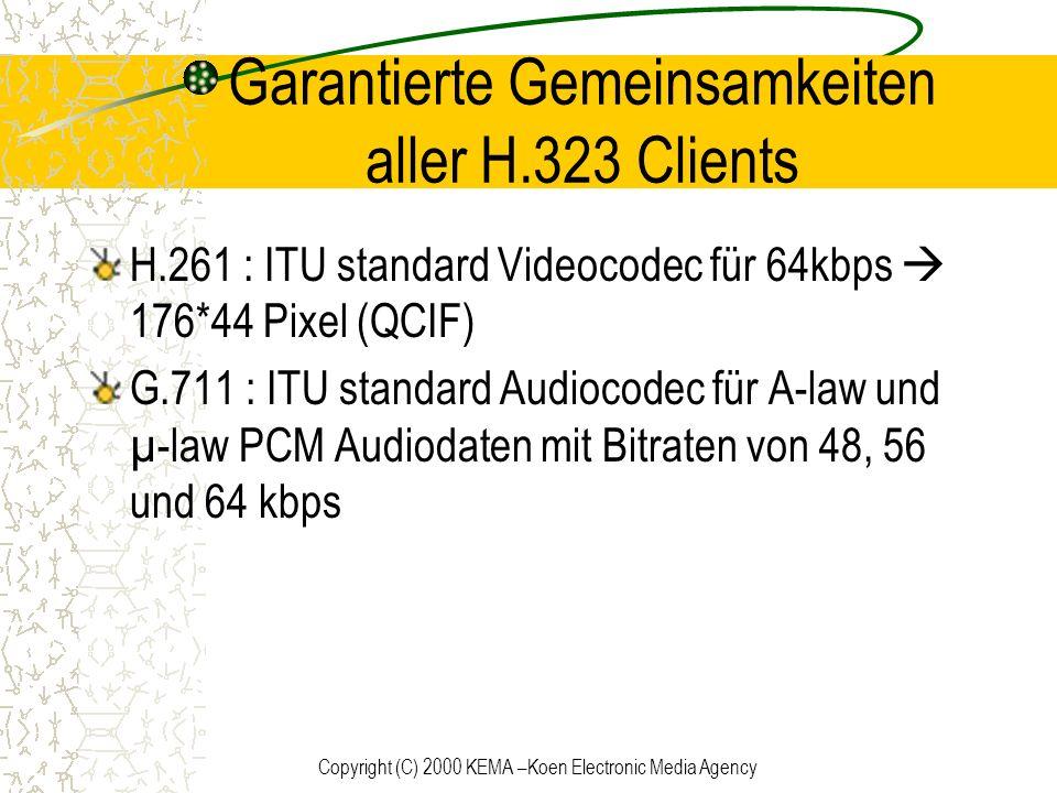 Copyright (C) 2000 KEMA –Koen Electronic Media Agency Garantierte Gemeinsamkeiten aller H.323 Clients H.261 : ITU standard Videocodec für 64kbps 176*4